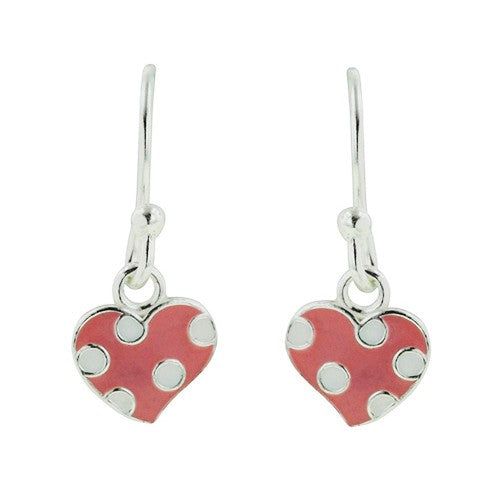 Pink Polka Dot Heart Earring