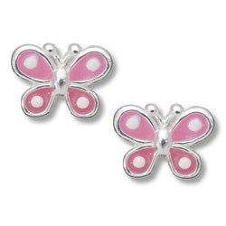 Pink Spotted Butterfly Post Earring