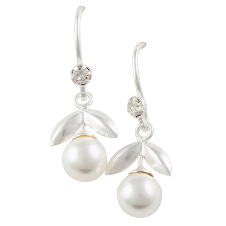 Freshwater Pearl With Leaves Earring