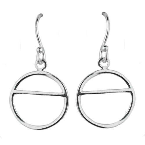 Open Circle With Horizontal Chord Earring