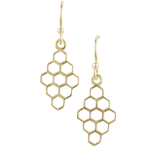 Gold Plated Honeycomb Earring