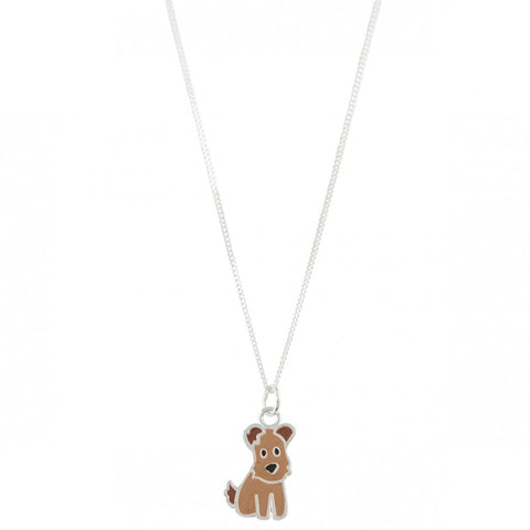 Sterling Silver Brown Enamel Dog Necklace - Emily