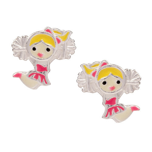Enamel Cheerleader Post Earrings