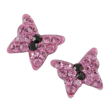 Sterling Silver Pink Crystal Pave Butterfly Post Earring