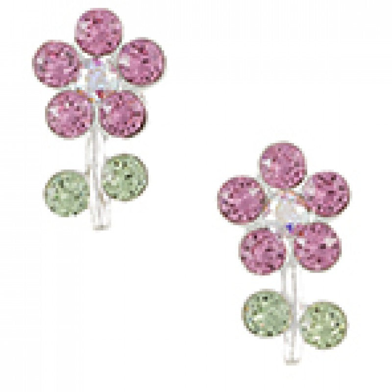 Sterling Silver Pink Crystal Flower With Stem Post Earring