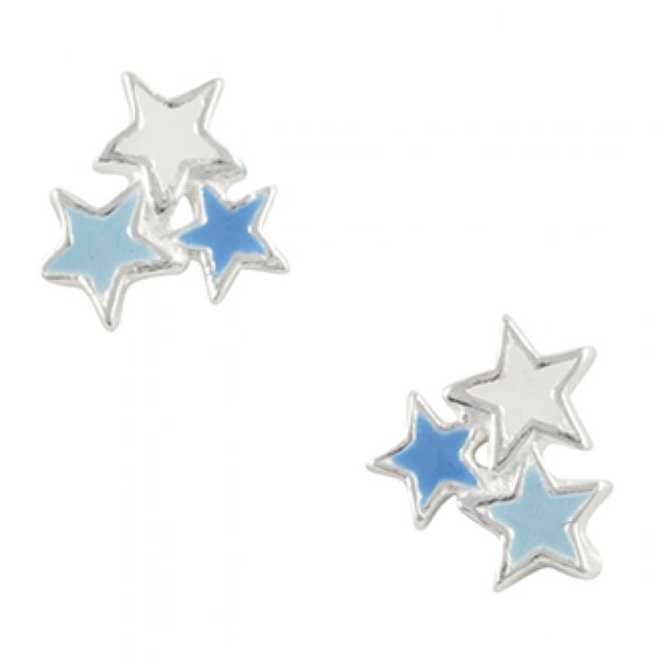 Sterling Silver Blue And White Enamel Star Cluster Post Earring
