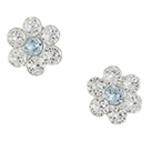 Sterling Silver Clear And Light Blue Crystal Cluster Flower Post Earring