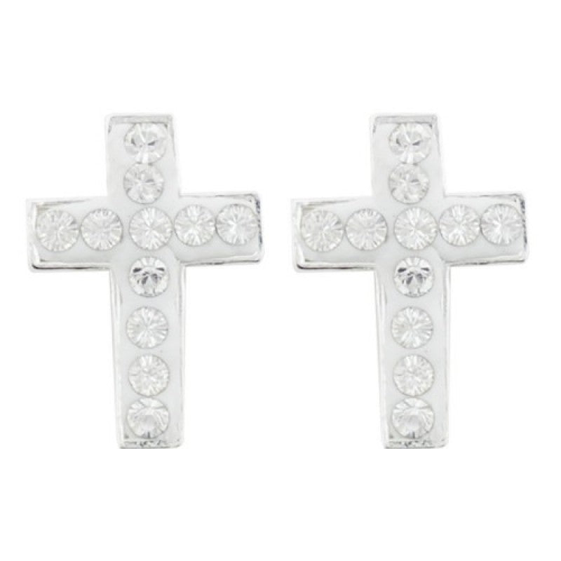 Crystal Pave Cross Post Earring