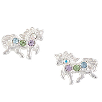 Crystal Pave Unicorn Post Earrings