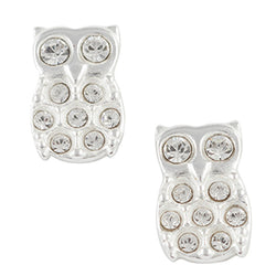 Owl Post Earring with Clear Crystal Pave