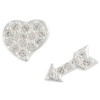 Crystal Pave Mismatched Heart and Arrow Post Earrings