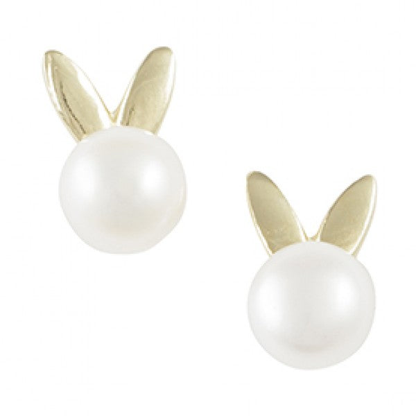 Gold Plated Bunny Ear Pearl Post Earring