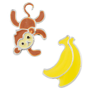 Mismatched Monkey and Bananas Post Earring