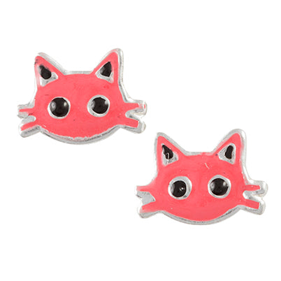 Pink Kitty Face Post Earring