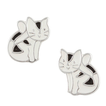 Black Tabby Cat Post Earring