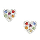 Rainbow Crystal Heart Post Earring