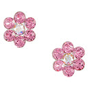 Pink Crystal Flower Post Earring