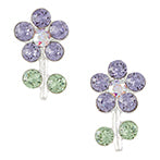 Purple Crystal Flower and Stem Post Earring