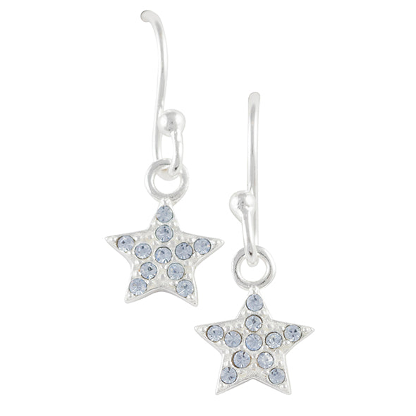 Light Blue Crystal Pave Star Earring
