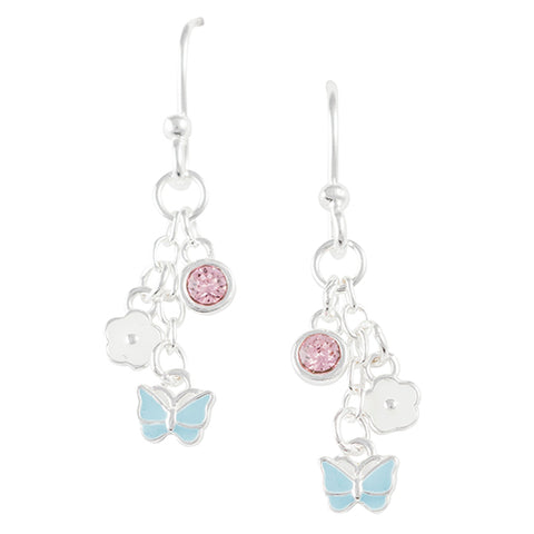 Crystal Butterfly and Flower Earring