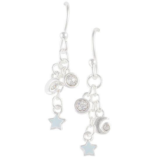 Crystal Moon and Star Earring
