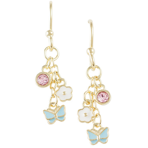 Gold Plated Crystal Butterfly and Flower Earring
