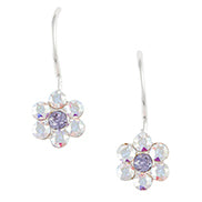 Aurora and Purple Crystal Cluster Flower Earring