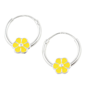 Yellow Flower Hoop Earring