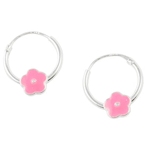 Pink Flower Hoop Earring