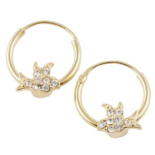 Gold Plated Crystal Pave Bird Hoop Earring