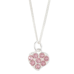 Pink Crystal Pave Heart Necklace