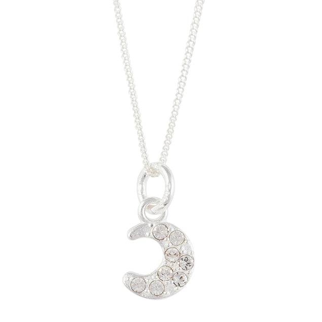 Clear Crystal Pave Moon Necklace