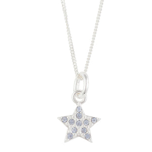 Light Blue Crystal Pave Star Necklace