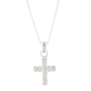 Clear Crystal Pave Cross Necklace