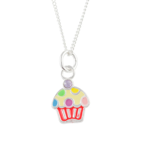 Multicolor Polka Dot Cupcake Necklace