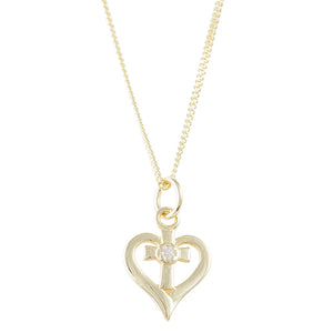 Cubic Zirconia Heart Cross Necklace
