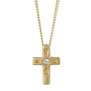 Gold Plated Clear Crystal Cross Necklace