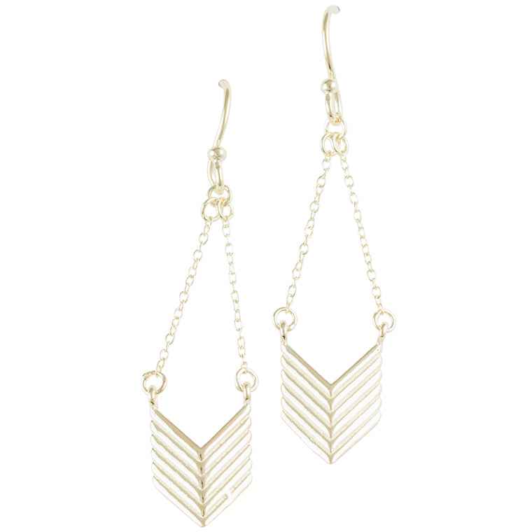 Gold Plated Chevron Chain Earring - Tomas