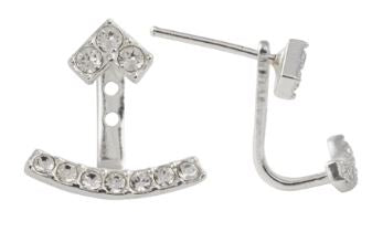 """V"" With Curved Ear Jacket And Crystal Post Earring - Tomas"