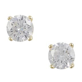 Gold Plated Cz Post Earring - 5mm