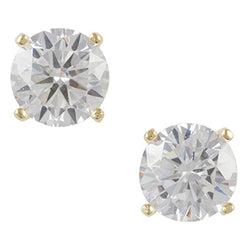 Gold Plated Cz Post Earring - 7mm