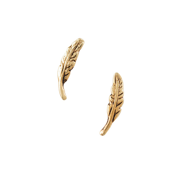 Gold Plated Feather Post Earring