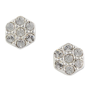 Crystal Hexagon Post Earring
