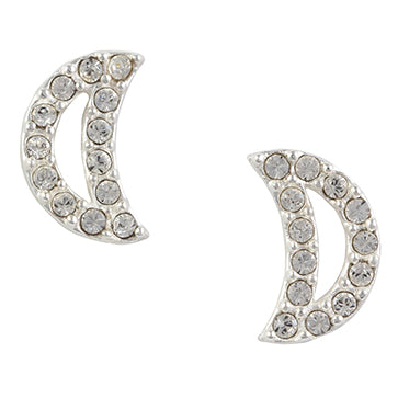 Crystal Moon Post Earring