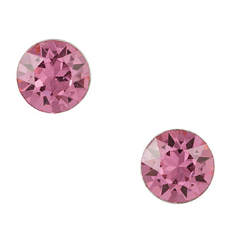 Bezel Pink Crystal Post Earring - Large