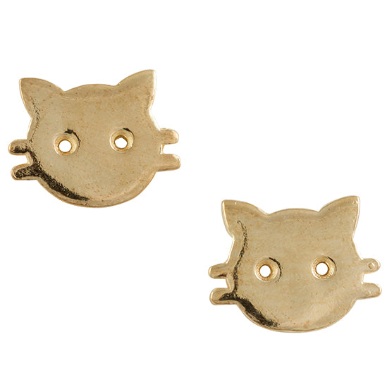 Gold Plated Cat Face Post Earring