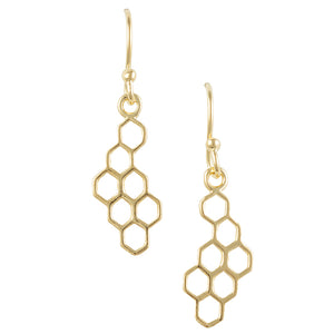 Gold Plated Honeycomb Uneven Earring