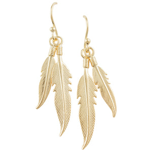 Gold Plated Two Feather Earring