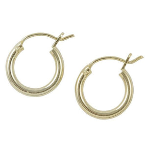 Gold Plated Plain Hoop Earring - 12mm