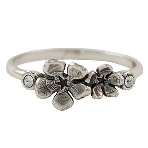 Crystal Flowers Ring in silver